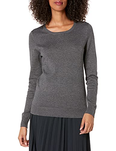 Amazon Essentials Crewneck Sweater, Mujer, Gris (charcoal heather), (Talla del fabricante: Large)