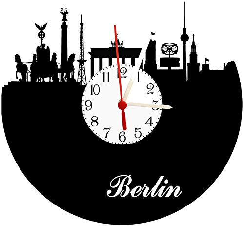 Wanduhr Berlin, Skyline mit Zifferblatt, hochwertige Acrylglas Uhr mit lautlosem Quarzwerk, 3mm Stärke