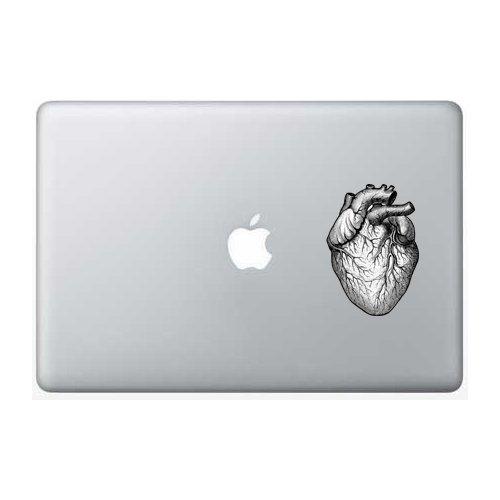 Heart black and white - 5 Inch - Apple Macbook Laptop Decal