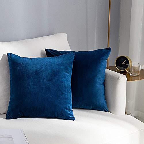 HongKe Fodere dei Cuscini Confezione da 2, Federa in Velluto 16x16 Pollici Fodere per Cuscini Quadrate 40x40cm Federe Cuscini Divano per da Letto Casa Fodera Cuscino - Blu Navy