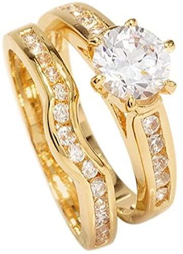 SKYUXUAN Grabado Gratis! ¡AH! Joyería Señoras 18kt Genuine Gold Rellenado Diamantes simulados Anillo y Canal de Amplificador Banda de Compromiso de la Banda de la Banda de la eternidad-Metro