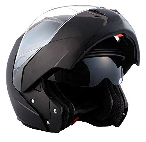 Soxon SF-99  Motorrad Klapp-Helm, ECE Sonnenvisier Schnellverschluss Tasche, S (55-56cm), Matt Schwarz
