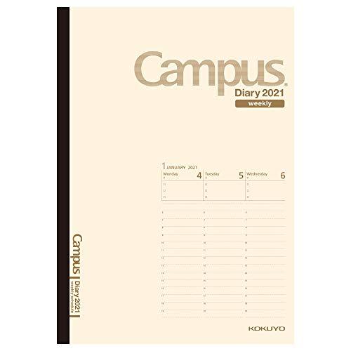 コクヨキャンパスダイアリー手帳2021年A5ウィークリークリームニ-CWVLS-A5-212021年1月始まり