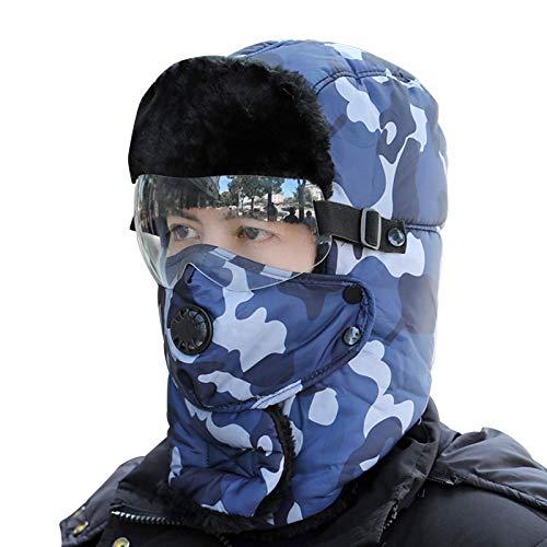 Sombrero gorra trampero sombrero de invierno sombreros de invierno para hombres soldado caza sombrero de esqu mujer oreja solapa a prueba de viento mscara extrable gafas de punto sombrero de punto