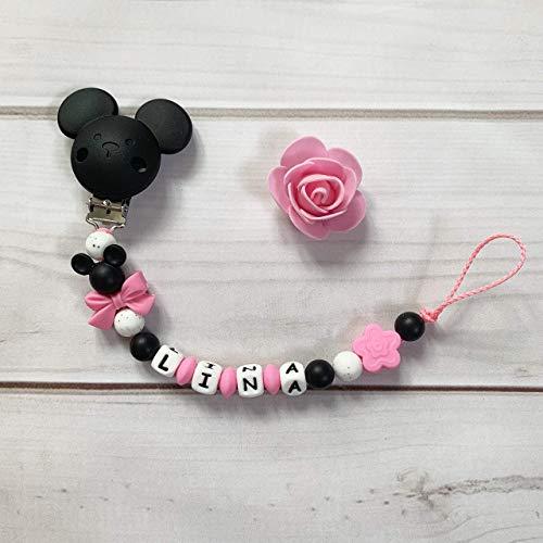Schnullerkette mit Namen Silikon Nuckelkette schwarz rosa pink weiß Maus