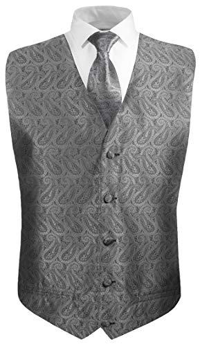 Festliche Jungen Anzug Weste mit Krawatte 2tlg Silber grau Paisley für Kinderanzug 158-164 (14 Jahre)