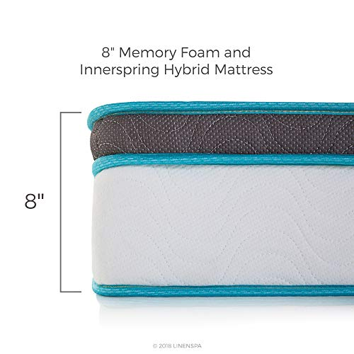Linenspa 8 Inch Memory Foam and Innerspring Hybrid Mattress - Medium-Firm Feel - King