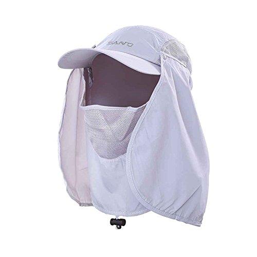 TSHOME Outdoor 360 ° UV Schutz Sonnenhut Cap mit Nackenschutz & Face Flap Cover Faltbarer Anti-Moski (Hellgrau)
