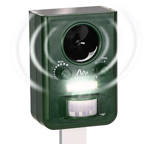 Gardigo Tiervertreiber Ultraschall Solar | Katzenschreck, Marderabwehr mit Blitzlicht | Multifrequenz Gerät, 5 Modi, 10 m Reichweite | Deutscher Hersteller