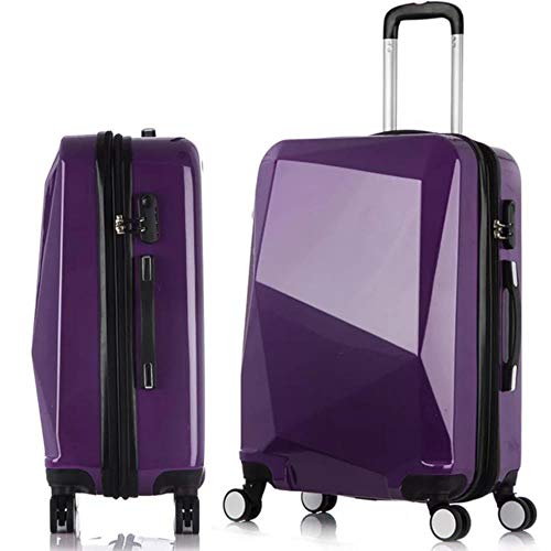 LHSX Diamond Rolling Luggage Spinner Suitcase Wheels Trolley Women Travel Bag,Purple,24""