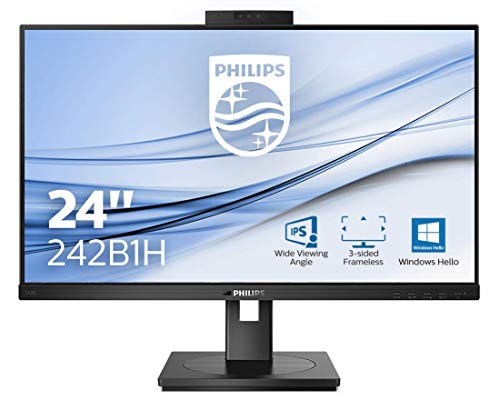 Philips 242B1H 60 cm (23,8 Zoll) Monitor (HDMI, DisplayPort, USB Hub, 1920x1080, 75 Hertz, FreeSync, Webcam), schwarz