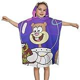 IUBBKI Sandy Cheeks Nehmen Sie Buch Kinder Kapuze Bademantel Poncho Baby Badetücher mit Kapuze für Jungen Mädchen Kleinkinder Schwimmen 24 Zoll x 24 Zoll