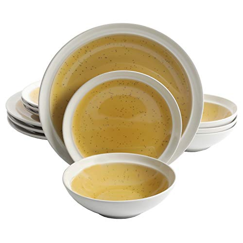 Gibson Elite 114400.12RM Clementine 12-Piece Reactive Glaze Dinnerware Set Service for 4, Yellow
