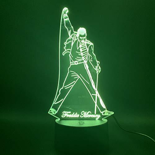 Solo 1 pieza 3d Lámpara de luz nocturna LED Cantante británico Freddie Mercury Figura Luz nocturna para la decoración del hogar de la oficina Best Fans Gift Dropshipping