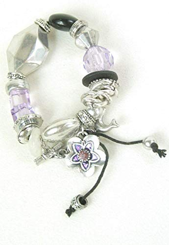 FSL Jewellery Bracelet Stretch Purple Lilac Pearl bead Costume Jewellery Bracelet