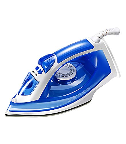 CWXDIAN Auténtico Vapor eléctrico Plancha cerámica Antiadherente Placa Inferior Aerosol Plancha eléctrica Lisa Mano Planchado, Azul