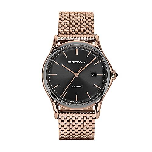 Emporio Armani - Reloj automático para Hombre con Fecha de Tres manecillas, Acero Inoxidable en Tono Dorado Rosa, ARS3024