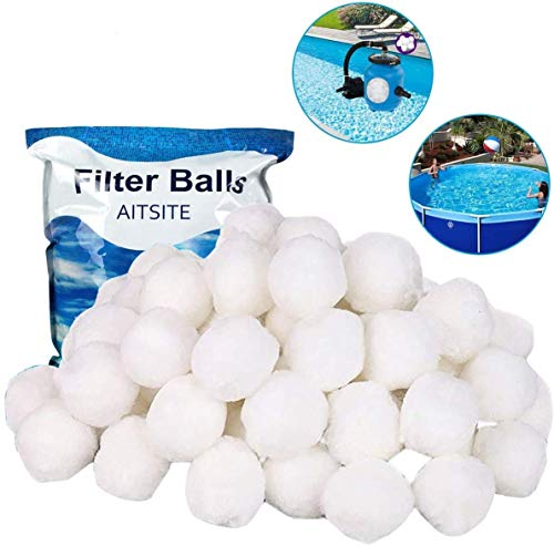 Aitsite Bola de Filtro para Piscina - 1300g Filter Balls Alternative para 50 KG Filtro de Arena Filtro Filtro de Fibra para Filtro de Piscina Bolas de Filtro e Arena de Acuario