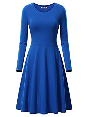 VETIOR Women's Long Sleeve Scoop Neck Casual Flared Midi Swing Dress