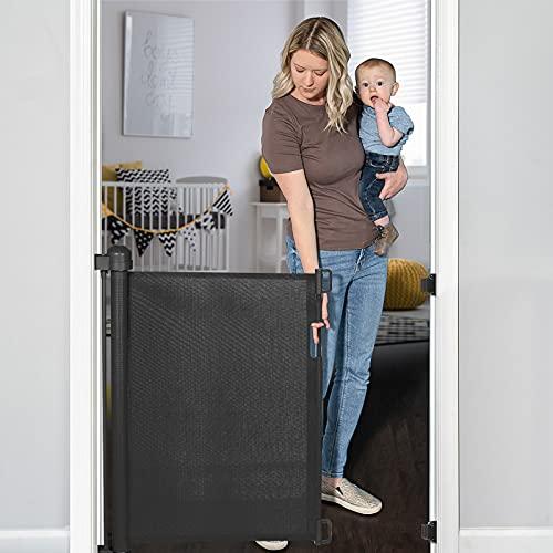 YOOFOR Barrière de Sécurité Escalier Rétractable pour Bébés et Chiens, 0-140 cm, 85 cm de Haut, Barrière Extensible Opération à Une Main, Barrière Escalier pour les Escaliers/Portes/Couloirs, Noir