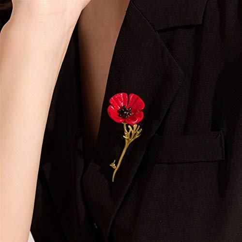 ZPEE Broche de Mujer Perlas Flores Rojas de Amapola broches for los Regalos de Las Mujeres los días de recordación prendedores Broche de Tela para Mujer de Ropa