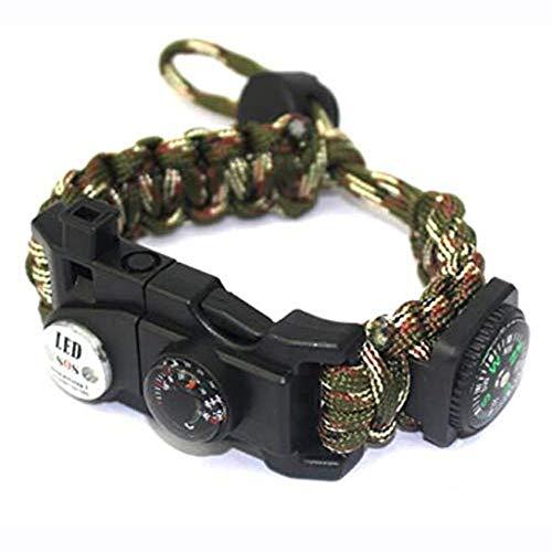 XHLLX Kit De Bracelet De Survie Paracord Réglable avec Allume-Feu Flint Compas Thermomètre Sifflet Corde À Parapluie Lumière LED Lecteur De Cartes Multi-Outils,Camouflage
