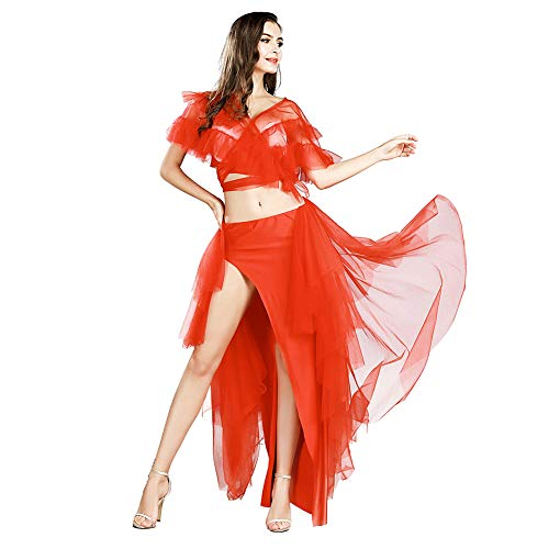 ROYAL SMEELA Belly Dance Costume for Women Belly Dancing Skirt Sexy Tops Belly Dancing Outfit Carnival Costumes Red