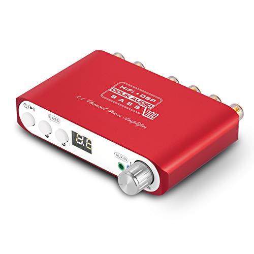 Q100 2.1 de canal Bluetooth Amplificador, amplificador de audio estéreo de clase D, amplificador de subwoofer digital, 80 W + 40 W x 2, Dual DSP (Red)