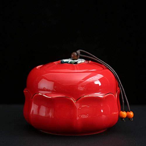 Pot à thé en céramique Service à thé Celadon Lotus Lotus Rhyme Boîte à thé dans le petit pot de rangement en céramique domestique Art Décoration Accessoires Boîte à thé créative Artisanat en céramique
