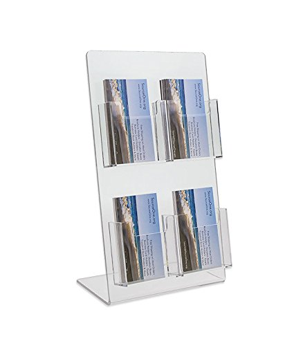 Source One Deluxe 2 Tier 4 Pocket Vertical Clear Business Card Holder - Counter Top