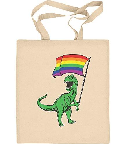 Shirtgeil LGBT Lesbian & Gay - T-Rex Rainbow Regenbogen Tasche Jutebeutel Baumwolltasche One Size Natur