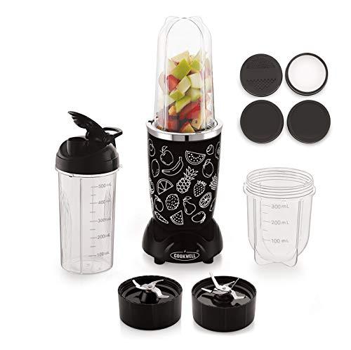 Cookwell Bullet Mixer Grinder, 500W, Pick & Drop Warranty (3 Jars 2 Blades, Black and Fruits)