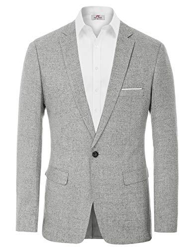 Men's Slim Fit Casual One Button Blazer Jacket Sport Coat Light Grey XL