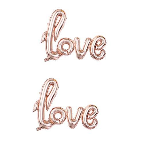Amosfun 2Pcs Encanta Papel de Globo de Aire Inflable Gigante Globo Globo Película Carta de Amor de Aluminio para El Cumpleaños Valentine
