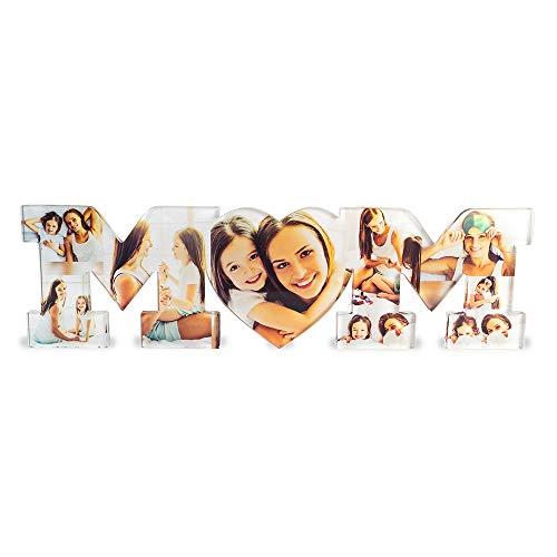 Babloo Scritta in Plexiglass Idea Regalo Festa della Mamma Mom Personalizzata con Foto M Trasparente