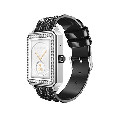 Reloj inteligente para mujer, monitor de fitness con pantalla táctil completa de 1,65 pulgadas, frecuencia cardíaca/presión arterial/podómetro de oxígeno, apto para Android iOS (rojo dorado)