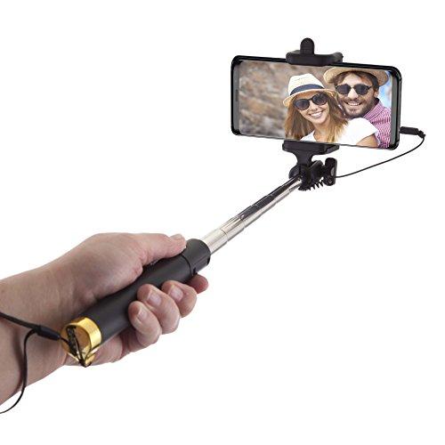 Power Theory Palo Selfie Stick con Cavo per Telefoni Cellulari - Compatibile con iPhone XS Max/XR/X/8/7/6S/SE e Samsung Galaxy S10/S9/S8/S8/S7 Nessuna Batteria o Bluetooth Richiesti Telescopico (Oro)
