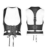 PUNK RAVE Women Punk Accessories Wash PU Metal Zipper Slim Fit Personality Handsome Stage Perform Corset (ブラック,XS-S)