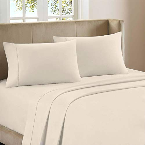 Purity Home 300 Thread Count 100% Combed Cotton 4 Piece Sheet Set, Luxury Queen Sheets Percale Weave, Moisture Wicking, Cool Crisp & Breathable, Patented Fitted Sheet Fits Upto 18' Deep Pocket, Ivory