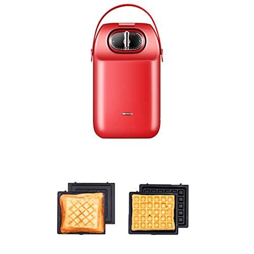 FSJD Máquina para Hacer gofres, Sandwichera con Control automático de Temperatura, 5 Tipos Diferentes de horneado, Platos extraíbles fáciles de Limpiar, para Tortitas, Galletas y Huevos Individuales