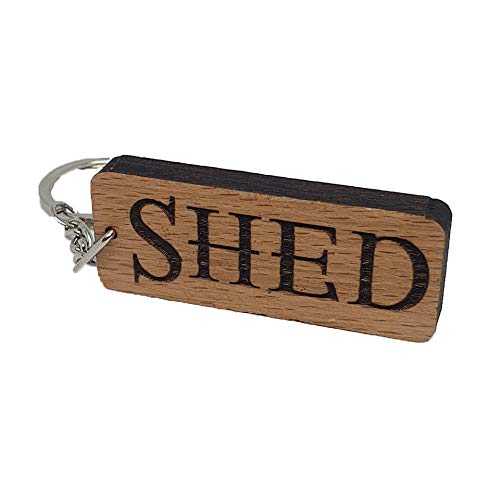 SHED Engraved Wooden Keyring Keychain Key Ring Tag