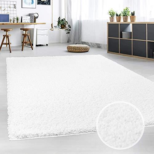 Hochflor Teppich | Shaggy Teppich fürs Wohnzimmer Modern & Flauschig | Läufer für Schlafzimmer, Esszimmer, Flur und Kinderzimmer | Langflor Carpet weiß 080x150 cm