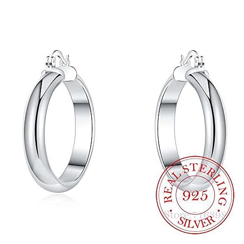 Pendientes de aro de plata de ley 925 grandes pendientes circulares lisos para mujer, regalo de joyería para fiesta de boda