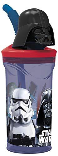 ALMACENESADAN 2230, Vaso caña Figura 3D Darth Vader, Disney Star Wars; Capacidad 350 ml; Producto de plástico; Libre BPA.