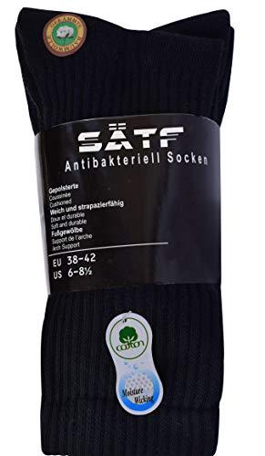 SÄTF Herren robust Arbeitssocken baumwolle atmungsaktiv gegen schweißfüße schwarz 38-41