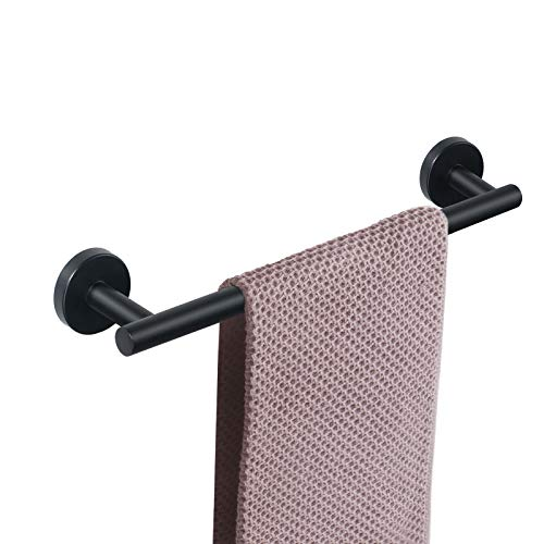 NearMoon Bathroom Towel Bar, Bath Accessories Thicken Stainless Steel Shower Towel Rack for Bathroom, Towel Holder Wall Mounted (Matte Black, 16 Inch)