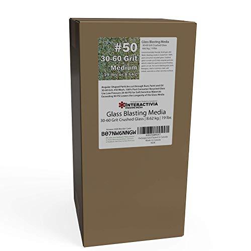 30-60 Grit (#50) Crushed Glass Abrasive - 19 lb or 8.6 kg - Blasting Abrasive Media (Medium) #50 Mesh - 559 to 254 Microns - for Blast Cabinets Or Sand Blasting Guns