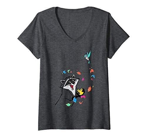 Femme Disney Pocahontas Meeko Flit Colorful Leafs Fall T-Shirt avec Col en V