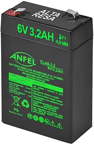 Batteria AGM 6V 3.2Ah al Piombo Ricaricabile Ermetica Ricambio per Lampada di Emergenza beghelli 8799 415272001 1499 RT628 FP628