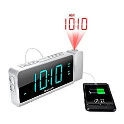 "Projection Alarm Clock with AM/FM Radio, 180°Projector, 7"" LED Digital Ceiling Display, Easy to Use, Clear Cyan Digit, 3 Dimmer, Digital Alarm Clock with USB Phone Charger, Battery Backup for Bedroom"